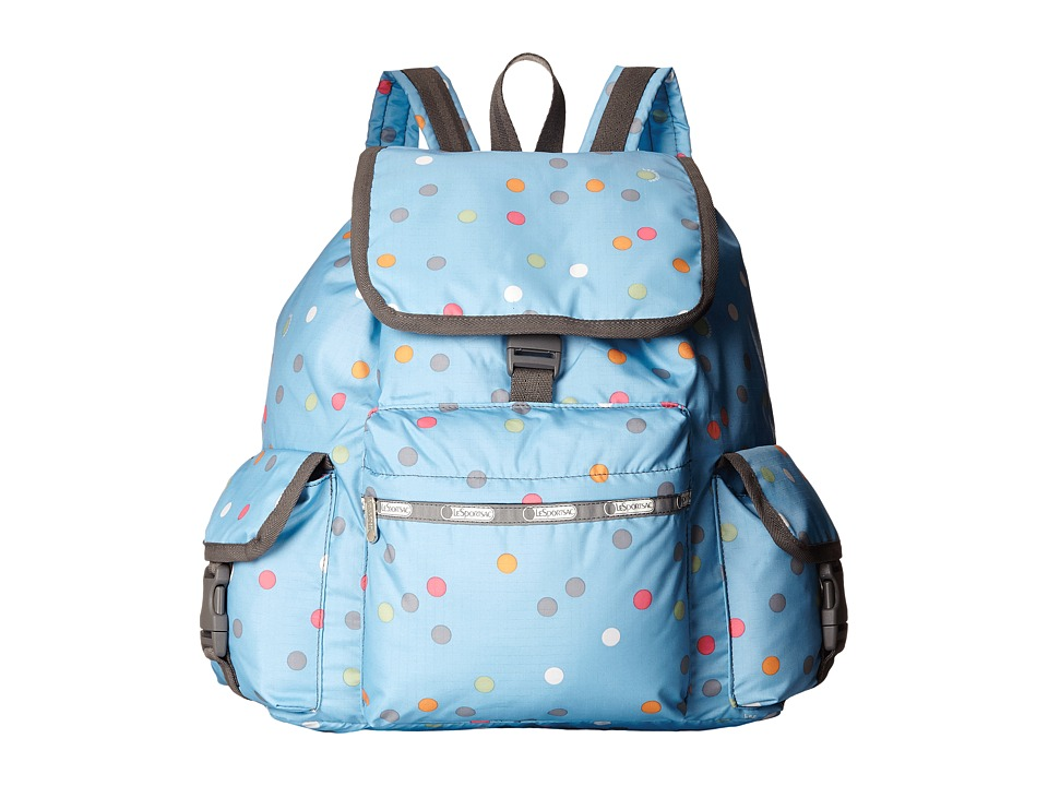 LeSportsac - Voyager Backpack (Litho Dot Blue) Backpack Bags
