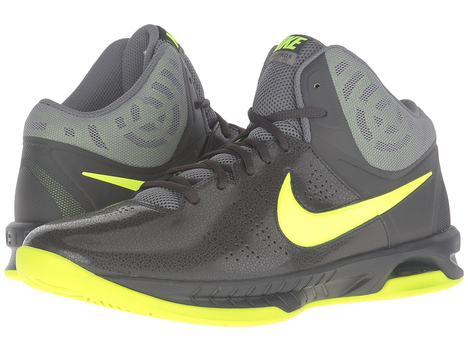 Nike - Air Visi Pro VI (Deep Pewter/Tumbled Grey/Volt) Men's Basketball Shoes