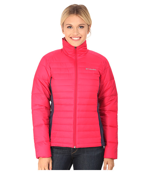 Columbia - Powder Pillow Hybrid Jacket (Ruby Red/Nocturnal) Women's Coat