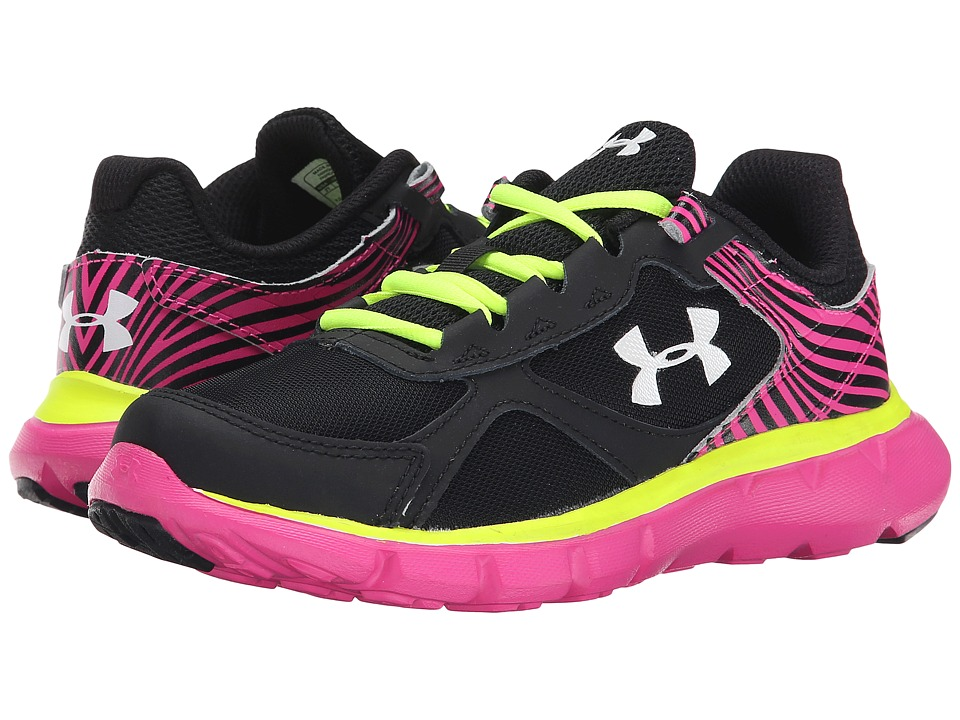Under Armour Kids - UA GPS Velocity RN (Little Kid) (Black/Rebel Pink/White) Girls Shoes