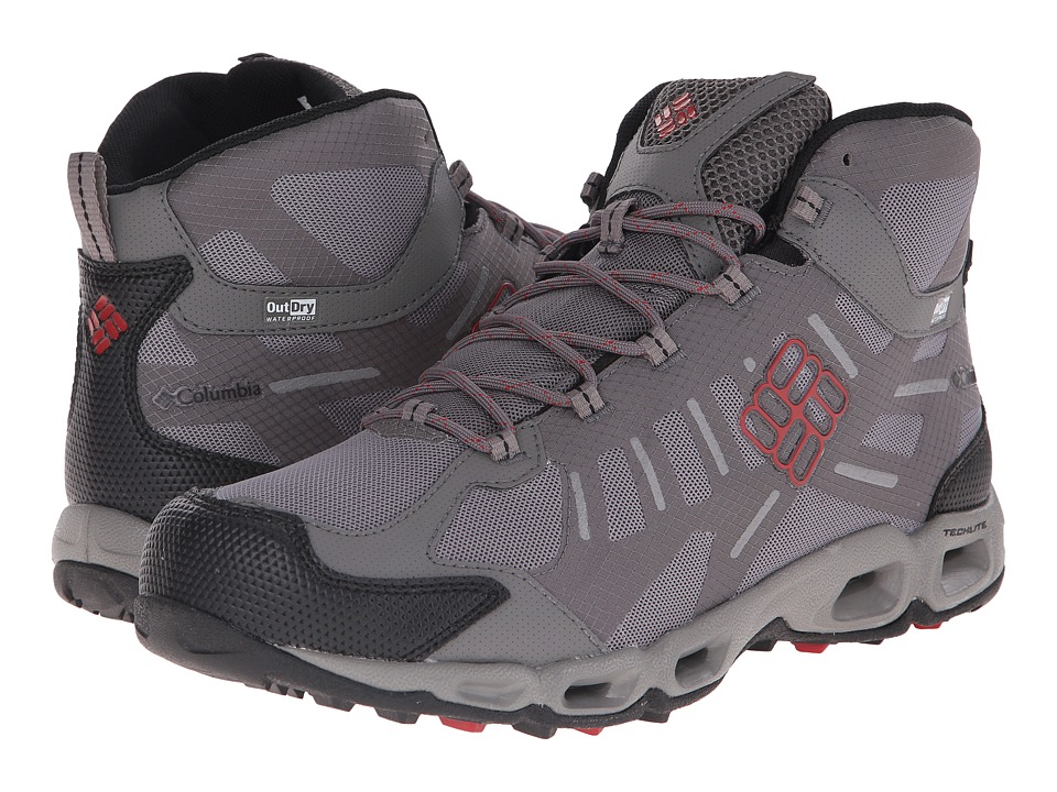 Columbia - Ventfreak Mid Outdry (Light Grey/Rocket) Men's Waterproof Boots
