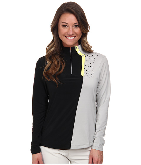 Jamie Sadock - Long Sleeve Top with Textured Dots (Dove Grey) Women