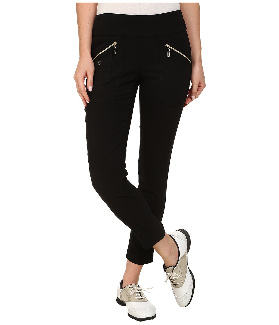 Jamie Sadock - Skinnylicious 35.5 in. Ankle Pant (Jet Black with Gold Zippers) Women's Casual Pants