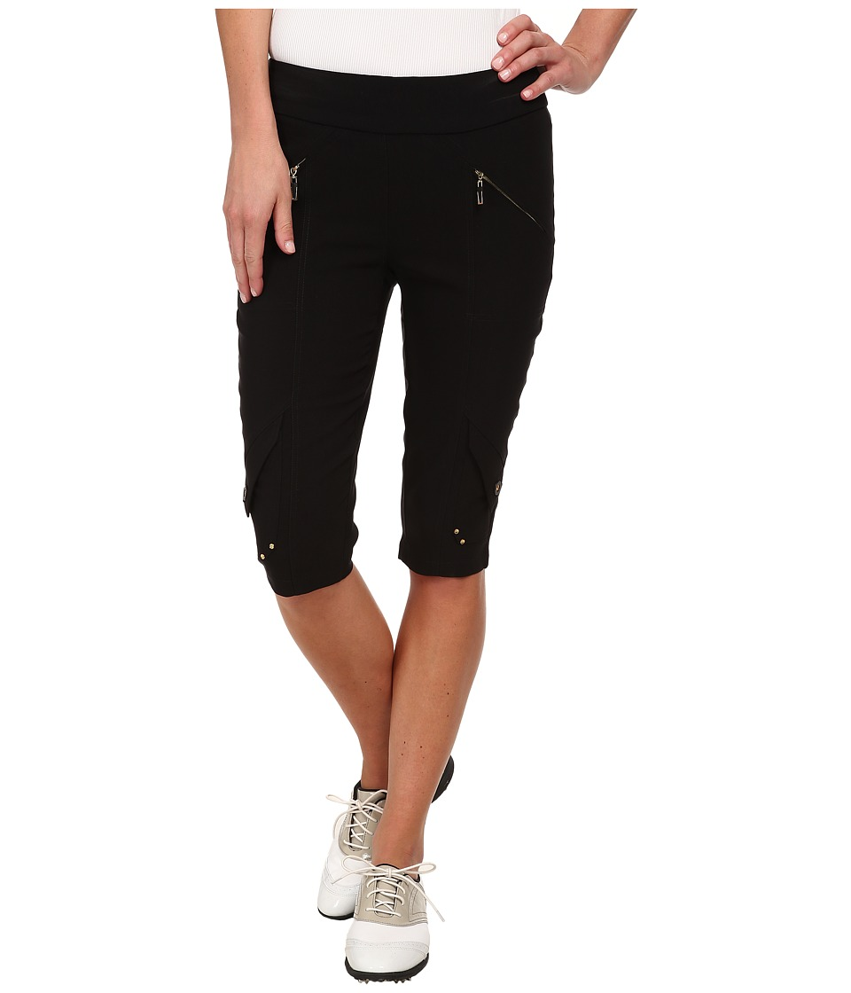 Jamie Sadock - Skinnylicious 24 in. Knee Capri (Jet Black with Gold Zippers) Women's Capri