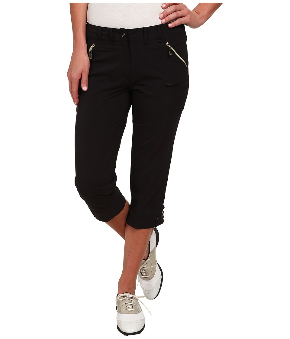 Jamie Sadock - Airwear Light Weight 28.5 in. Pedal Pusher (Jet Black with Gold Zippers) Women's Capri