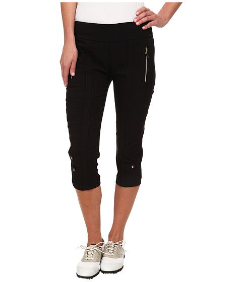 Jamie Sadock - Skinnylicious 28.5 in. Pedal Pusher (Jet Black with Gold Zippers) Women's Capri