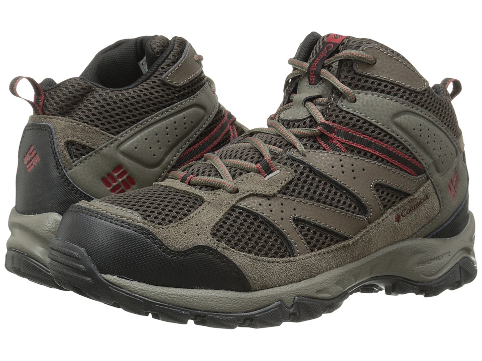 Columbia - Plains Ridge Mid (Cordovan/Red Dahlia) Men's Hiking Boots