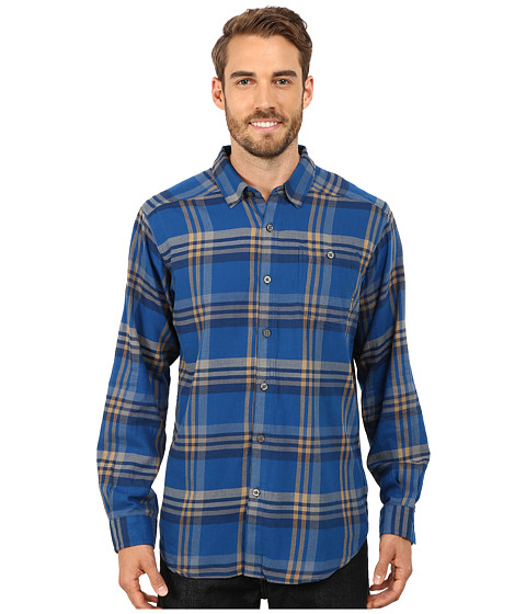 Columbia - Cornell Woods Flannel Long Sleeve Shirt (Marine Blue Plaid) Men