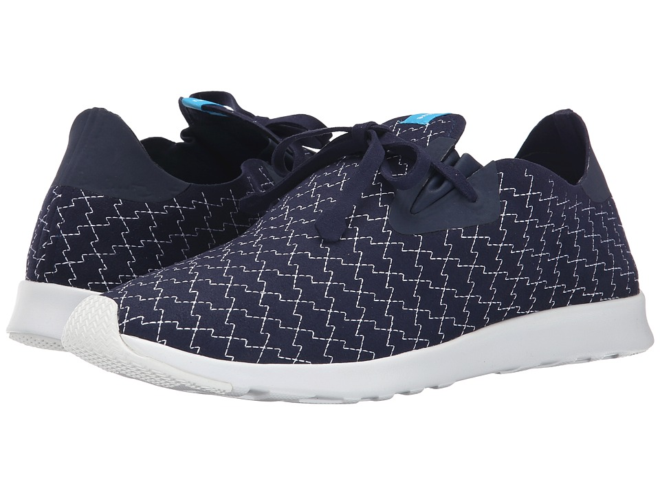 Native Shoes - Embroidered Apollo Moc (Regatta Blue/Shell White/Lightning Embroidery) Slip on Shoes