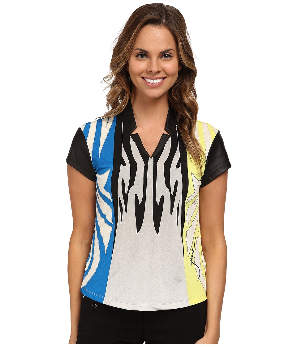 Jamie Sadock - Monarch Print Short Sleeve Top (Cyber) Women's Blouse