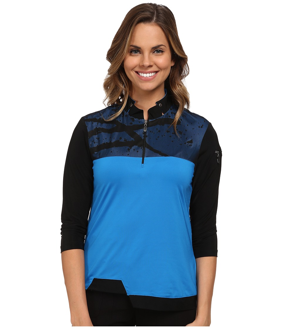 Jamie Sadock - 3/4 Sleeve Top with Mesh Overlay at Shoulders (Cyber) Women's Long Sleeve Pullover