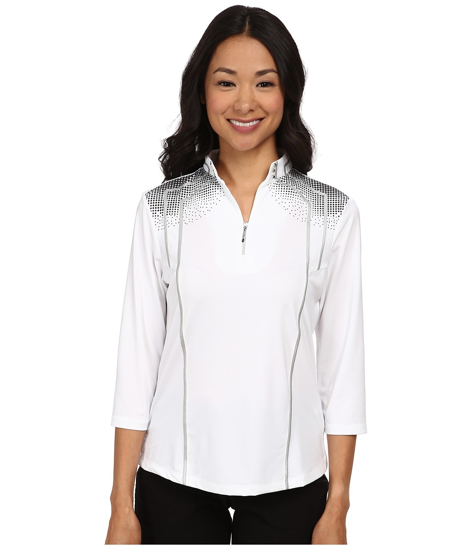 Jamie Sadock - 3/4 Sleeve Top with Textured Dots At Shoulders (Sugar White 1) Women