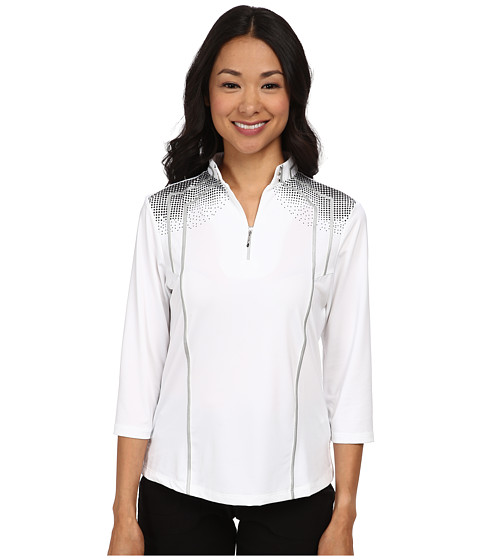 Jamie Sadock - 3/4 Sleeve Top with Textured Dots At Shoulders (Sugar White 1) Women's Long Sleeve Pullover