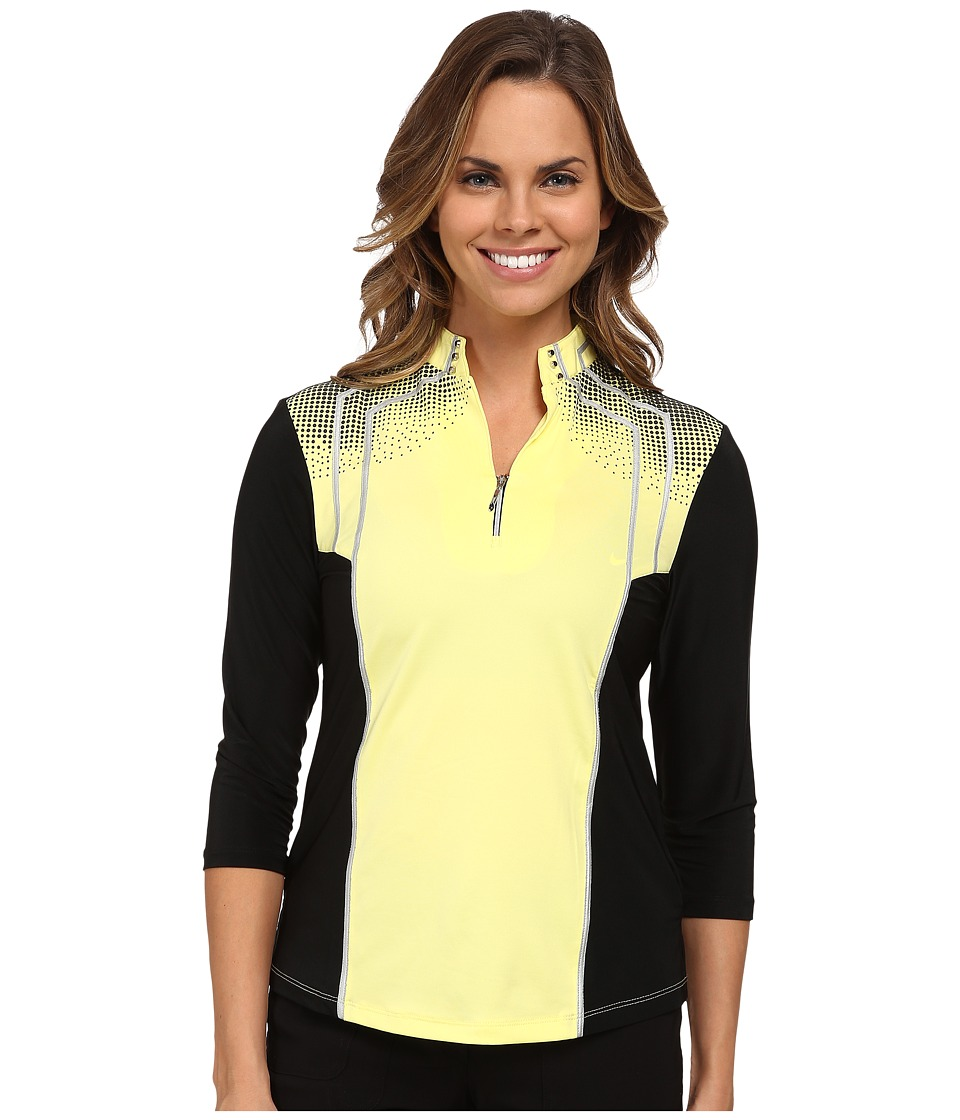 Jamie Sadock - 3/4 Sleeve Top with Textured Dots At Shoulders (Buttercup) Women