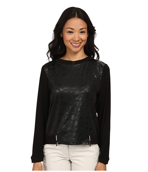 Jamie Sadock - Stone Textured Print Long Sleeve Top (Jet Black) Women's Long Sleeve Pullover