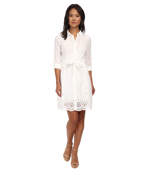 NYDJ - Josie Eyelet Cotton Voile Shirt Dress (Optic White) Women