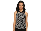 Chopstix Print Sleeveless Top with Mesh at Shoulders