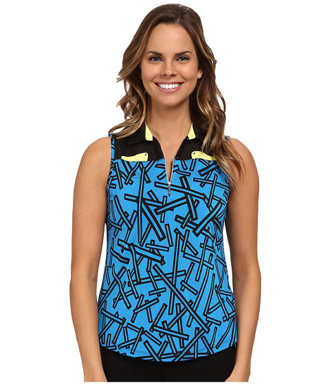 Jamie Sadock - Chopstix Print Sleeveless Top with Mesh at Shoulders (Cyber) Women's Sleeveless