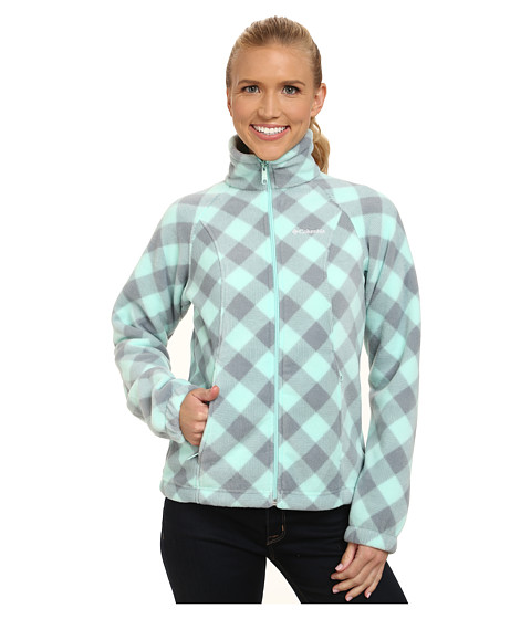Columbia - Benton Springs Print Full Zip (Blueglass Check) Women's Coat