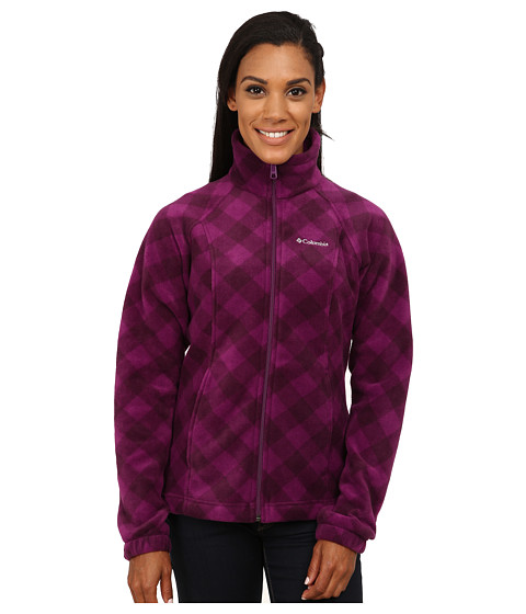 Columbia - Benton Springs Print Full Zip (Plum Check) Women's Coat