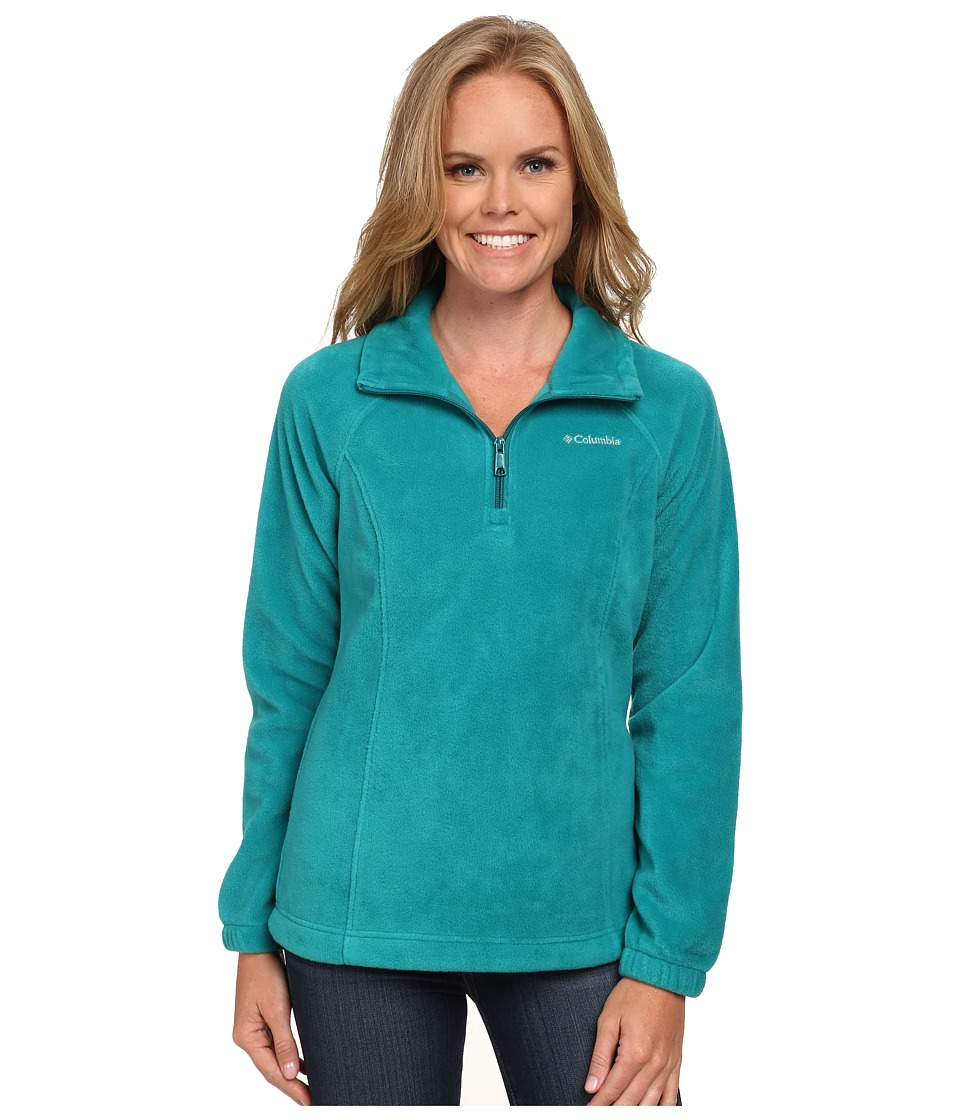 Columbia - Benton Springs 1/2 Zip (Emerald/Deep Wave Zip) Women's Long Sleeve Pullover