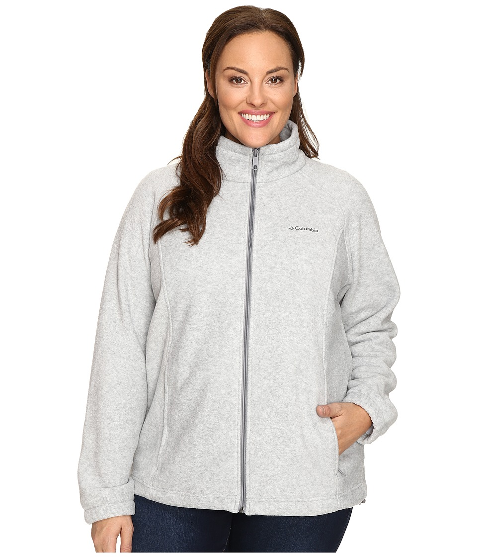 Columbia - Plus Size Benton Springs Full Zip (Light Grey Heather) Women's Sweatshirt