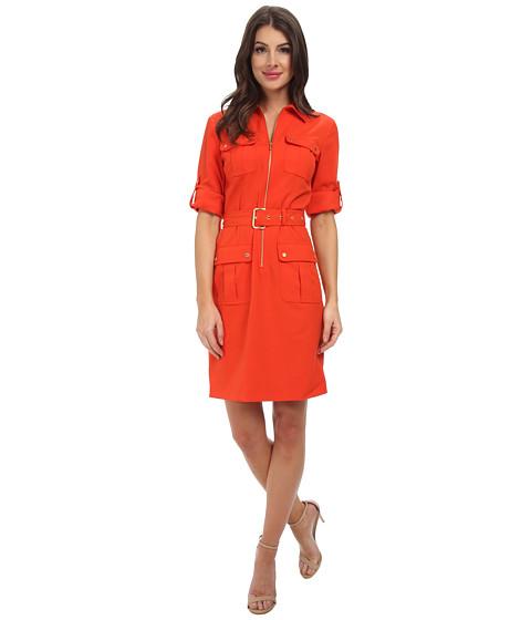 MICHAEL Michael Kors - Roll Sleeve Belted Shirt Woven Dress (Grenadine) Women