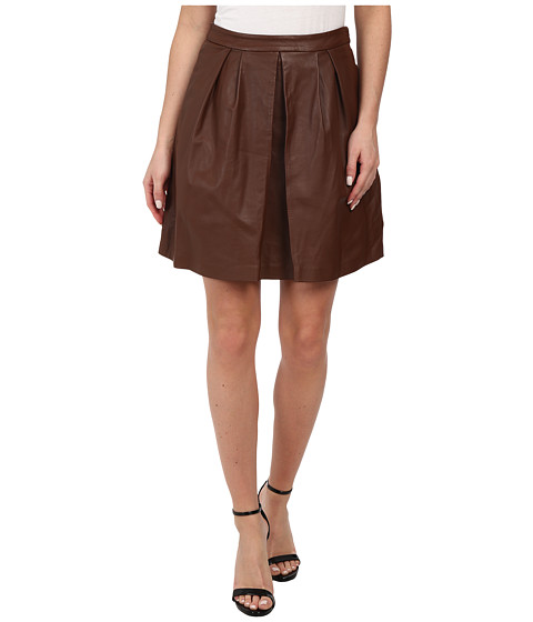 MICHAEL Michael Kors - Leather Pleat Skirt (Luggage) Women