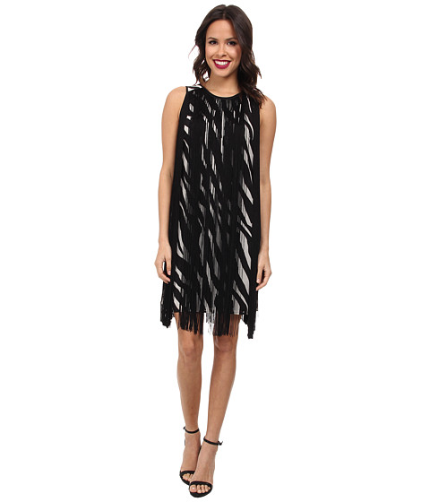 MICHAEL Michael Kors - Ghanzi Sleeveless Fringe Dress (Ecru/Black) Women's Dress