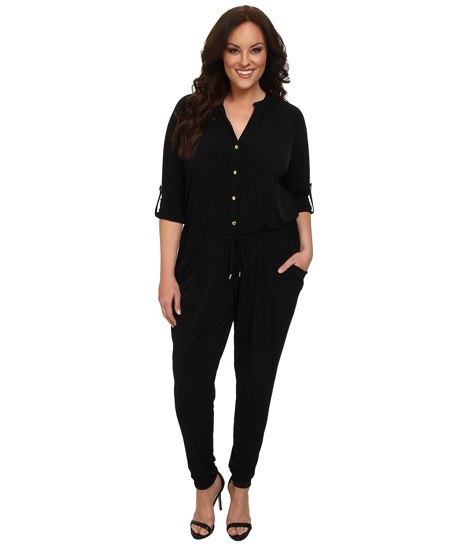 MICHAEL Michael Kors - Plus Size Roll Sleeve Raglan Jumpsuit (Black/Gold) Women's Jumpsuit & Rompers One Piece