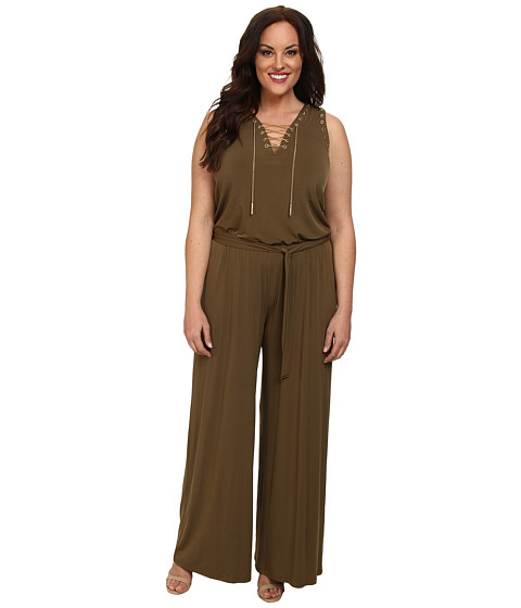MICHAEL Michael Kors - Plus Size Sleeve Less Lace Up Jumpsuit (Duffle) Women
