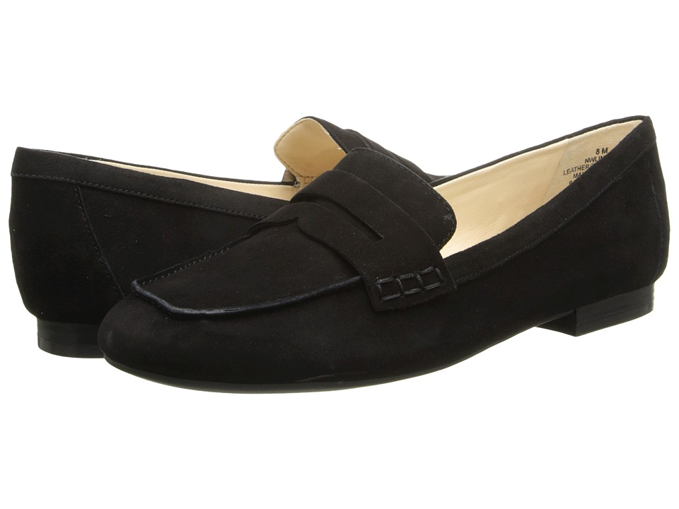 Nine West - Linear (Black/Black Suede) Women's Slip on Shoes