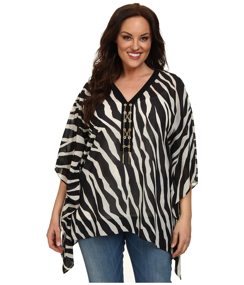 MICHAEL Michael Kors - Plus Size Ghanzi Lace Up Poncho (Ecru/Black) Women