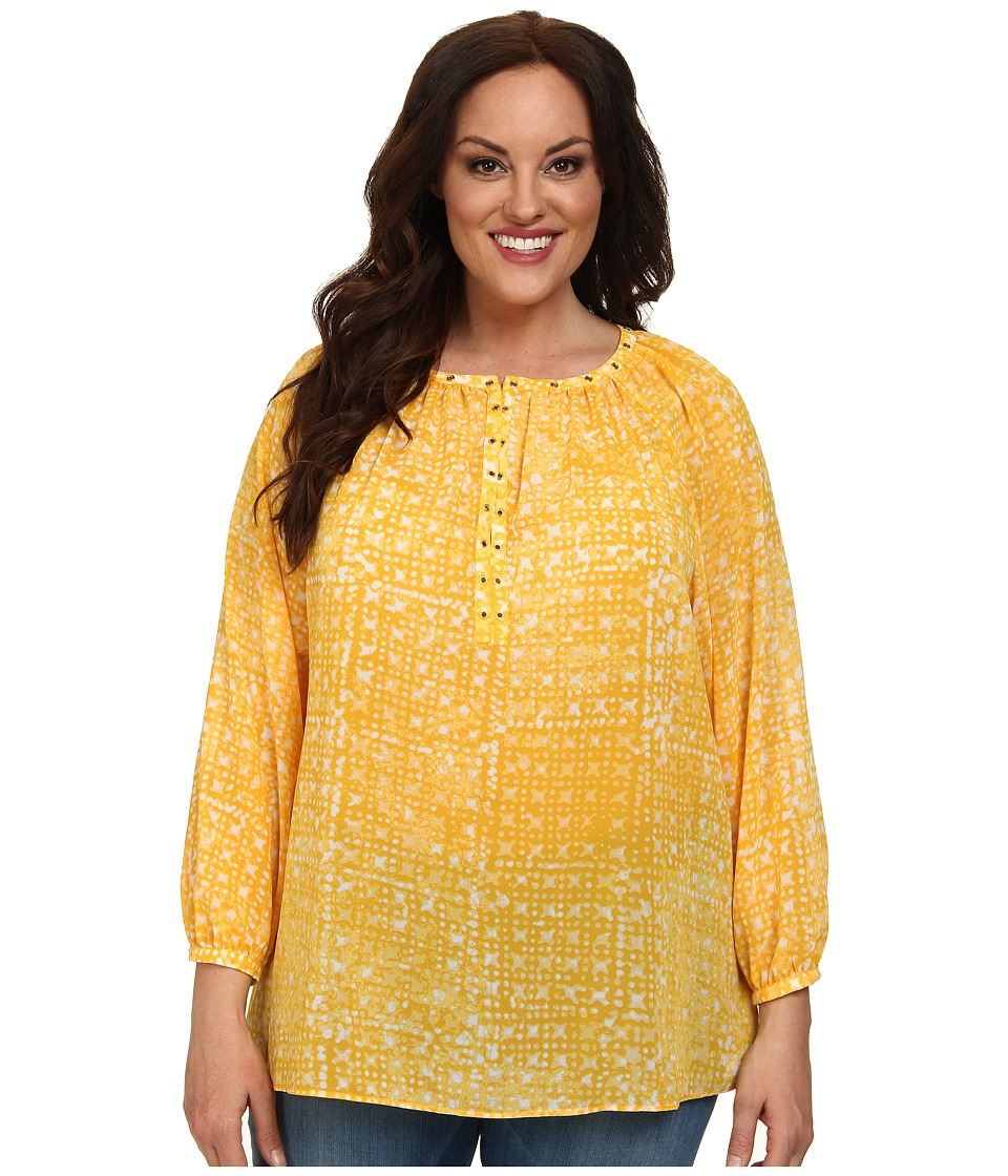 MICHAEL Michael Kors - Plus Size Mandera Raglan Sleeve Top (Ecru/Taxi Yellow) Women's Blouse
