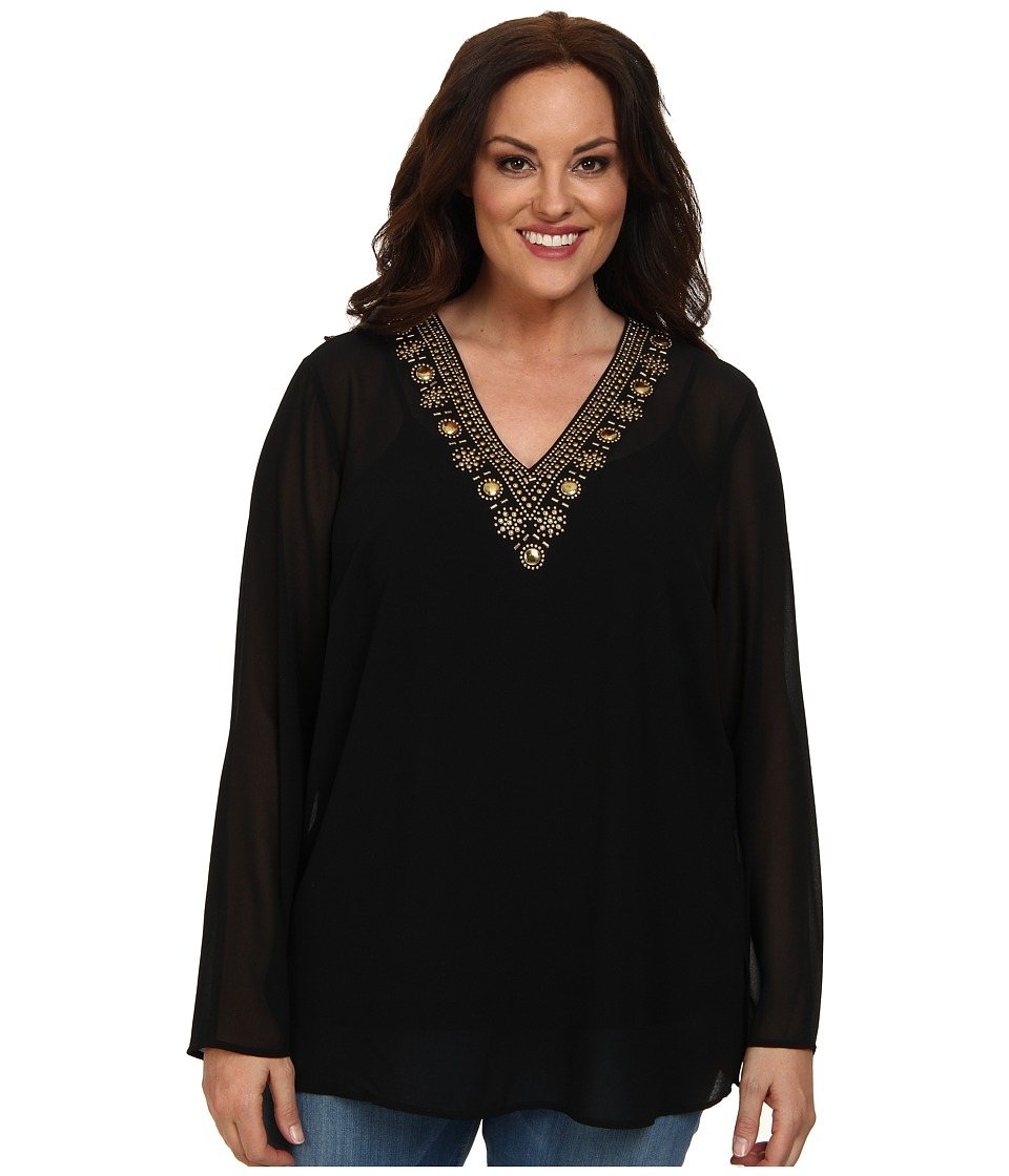 MICHAEL Michael Kors - Plus Size Embellished V-Neck Top (Black/Gold) Women's Clothing