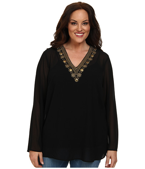 MICHAEL Michael Kors - Plus Size Embellished V-Neck Top (Black/Gold) Women's Clothing