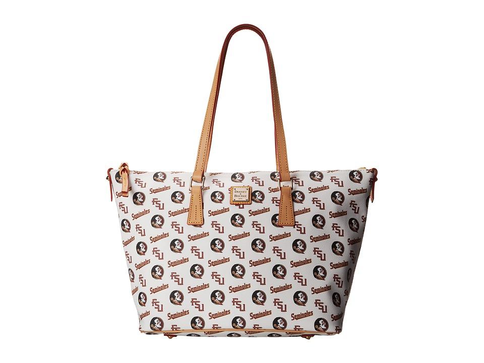 Dooney & Bourke - Collegiate Zip Top Shopper (White Florida State) Tote Handbags