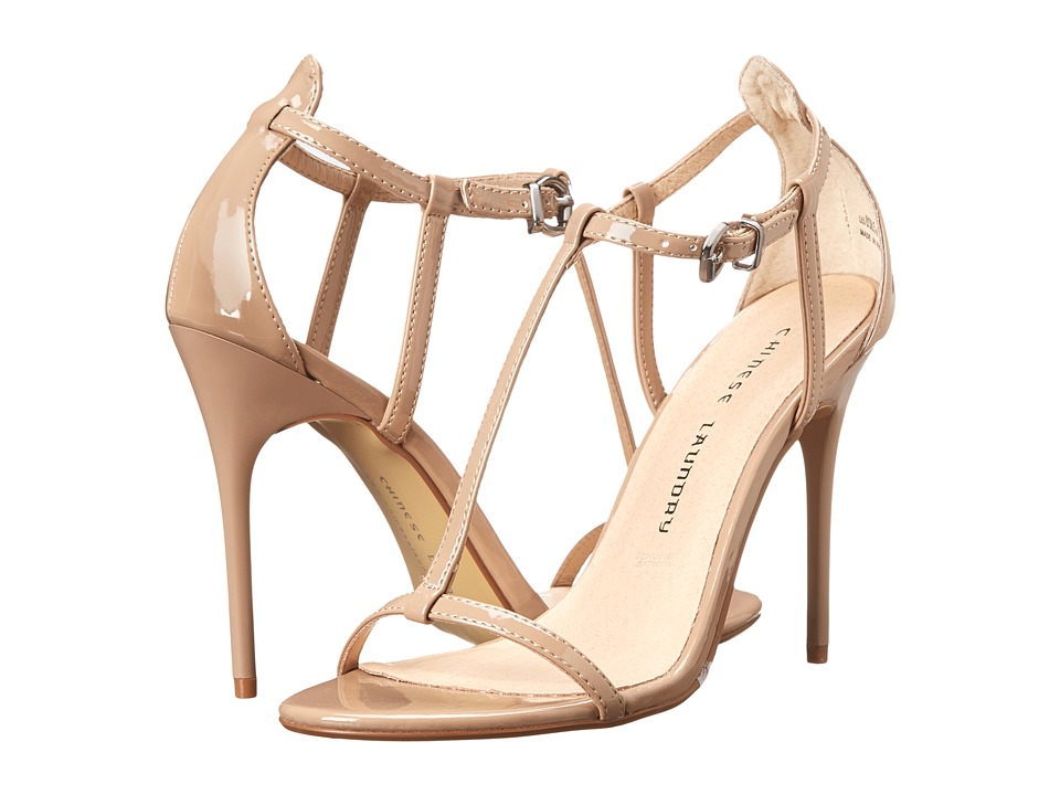 Chinese Laundry - Leo T Strap Sandal (Nude Patent) High Heels