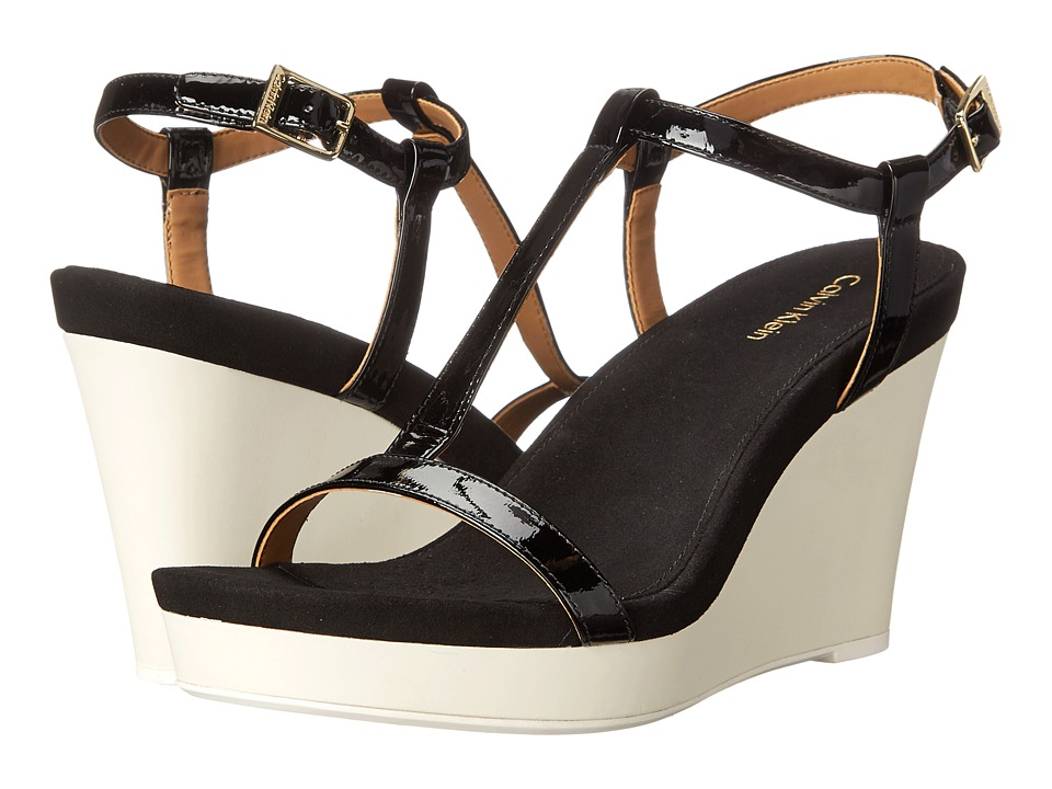 Calvin Klein - Jiselle (Black Patent) Women's Wedge Shoes