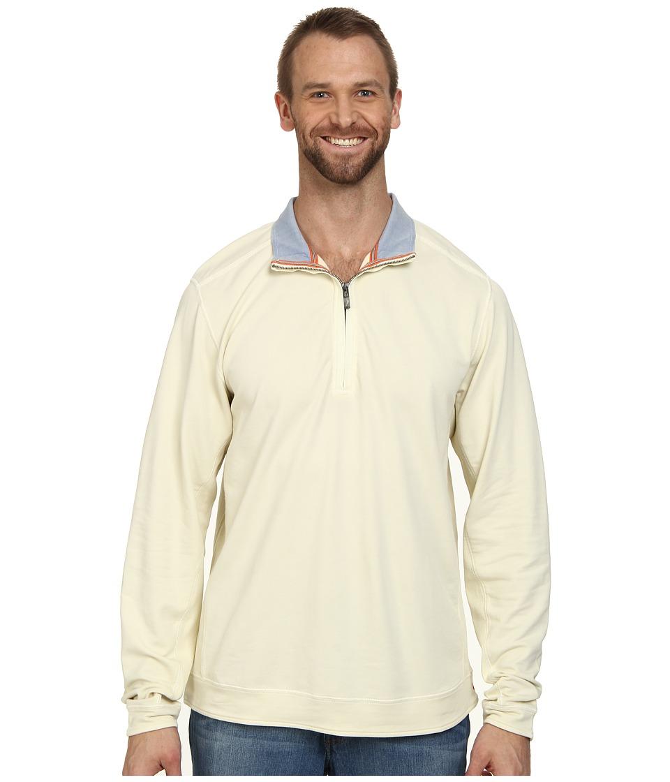 Tommy Bahama Big & Tall - Big Tall New Ben and Terry Half Zip Sweatshirt (Eggshell) Men's Long Sleeve Pullover