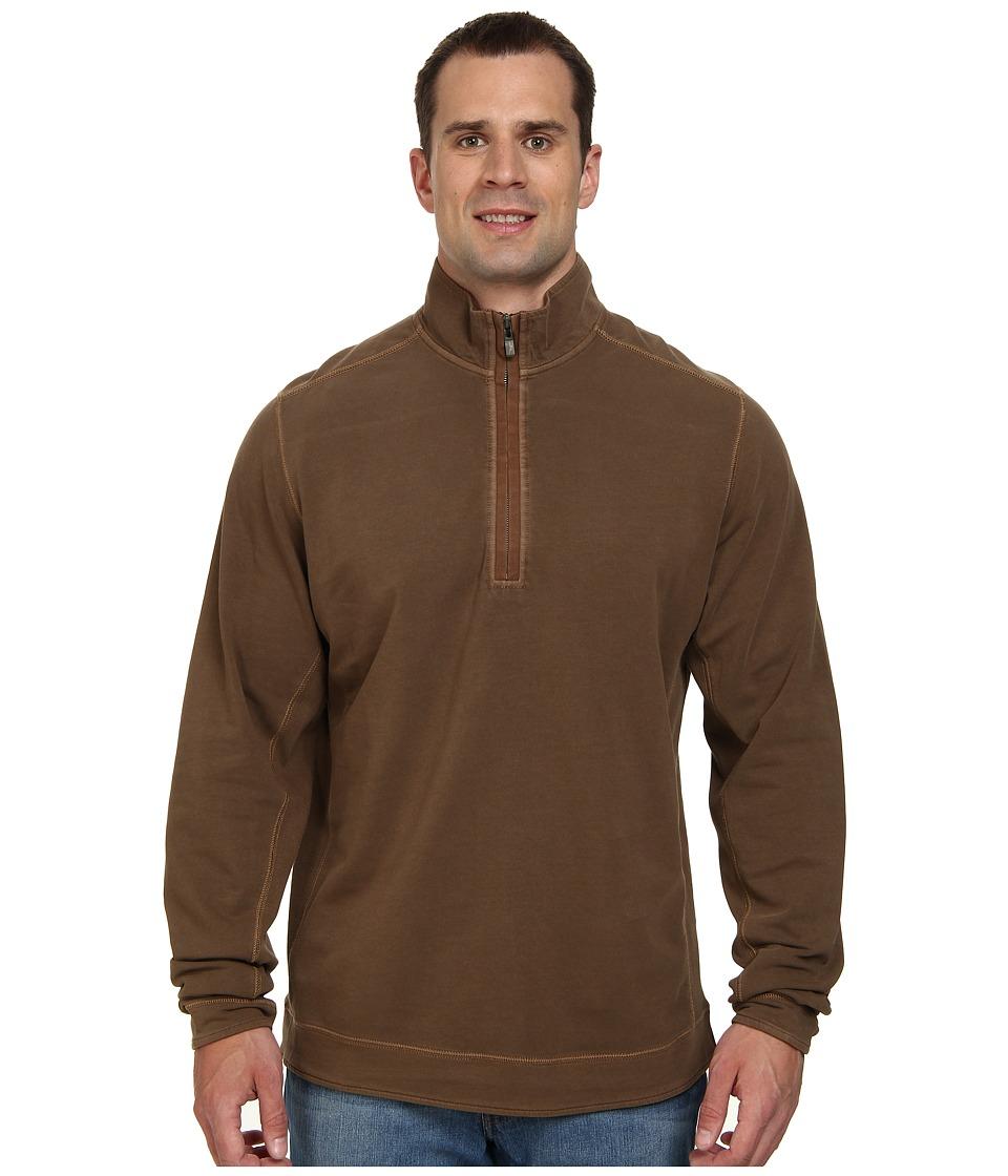 Tommy Bahama Big & Tall - Big Tall New Ben and Terry Half Zip Sweatshirt (Cola) Men's Long Sleeve Pullover
