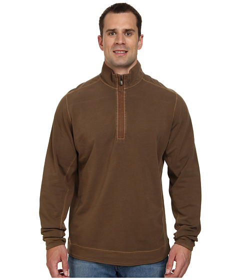Tommy Bahama Big & Tall - Big Tall New Ben and Terry Half Zip Sweatshirt (Cola) Men's Long Sleeve Pullover