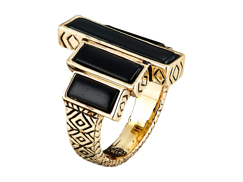 House of Harlow 1960 - The Long Rains Steps Ring (Black) Ring