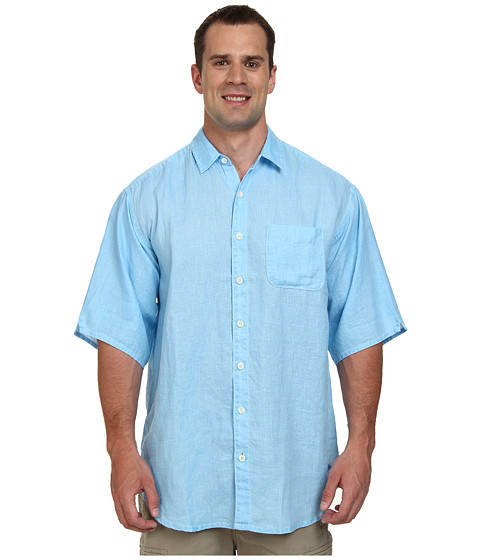 Tommy Bahama Big & Tall - Big Tall Sea Glass Breezer Camp Shirt (Blue Yonder) Men's Short Sleeve Button Up