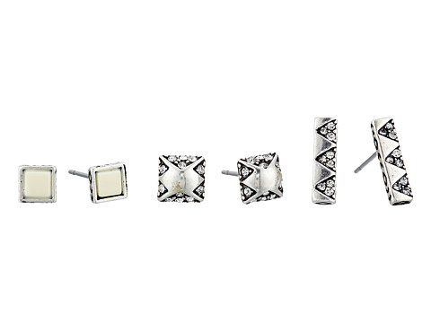 House of Harlow 1960 - Plateau Earrings Set (Silver Tone/Ivory) Earring