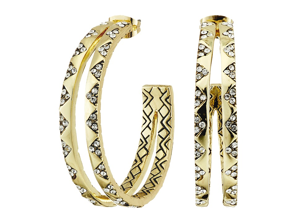 House of Harlow 1960 - Outland Split Hoop Earrings (Gold Tone/White Pave) Earring