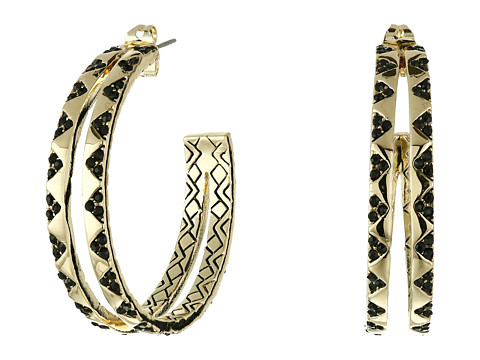 House of Harlow 1960 - Outland Split Hoop Earrings (Gold Tone/Black Pave) Earring