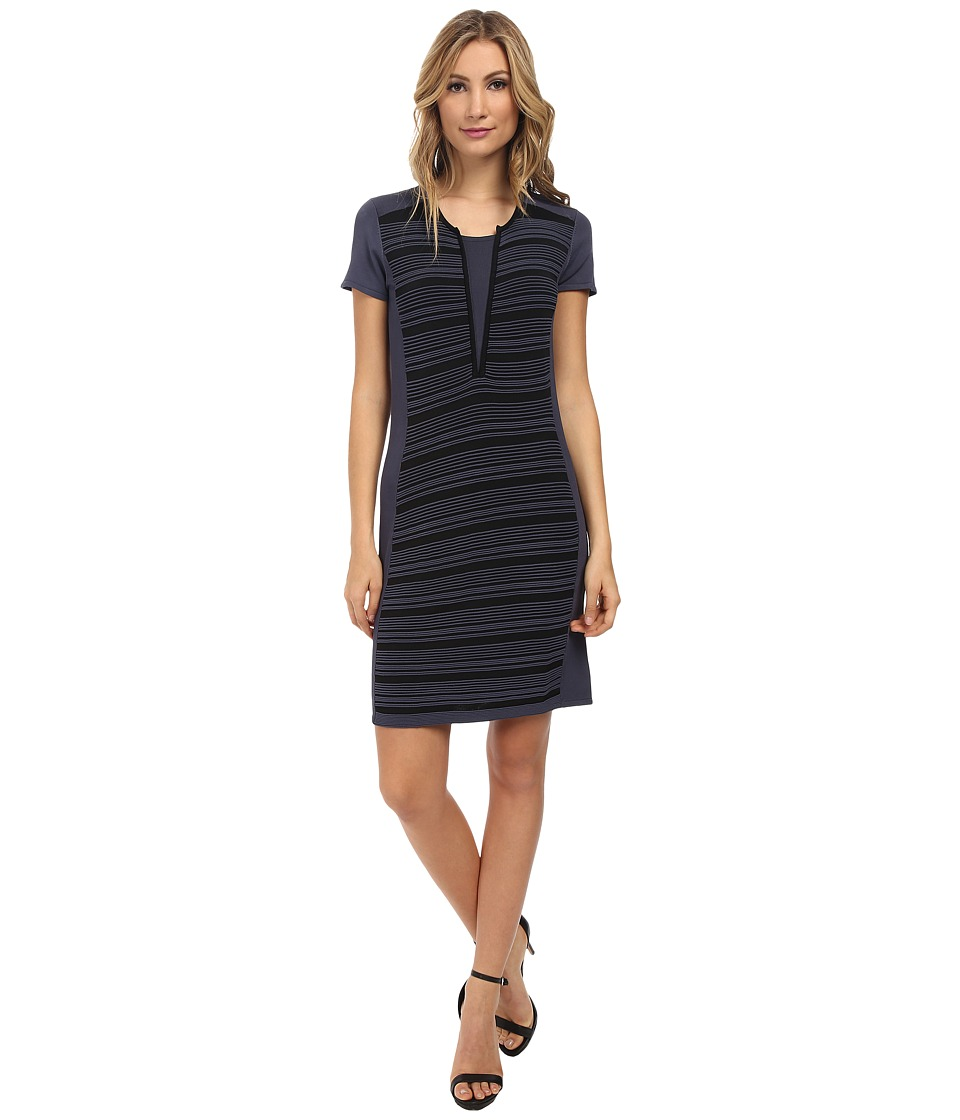 Ivy & Blu Maggy Boutique - Split Neck Striped Sweater Dress (Gunmetal/Black) Women's Dress