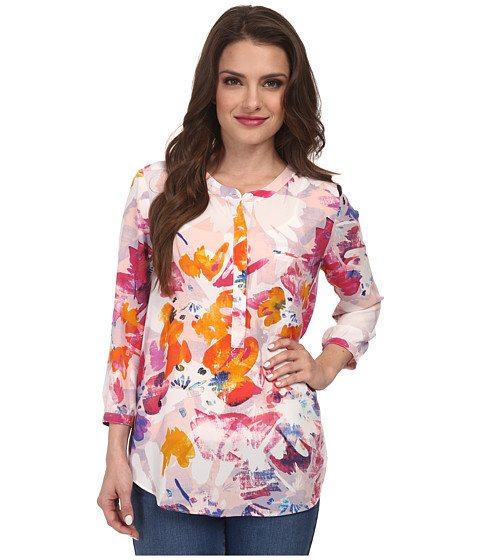 NYDJ Petite - Petite 3/4 Sleeve Pleat Back Solid (Tropical Floral) Women's Long Sleeve Button Up