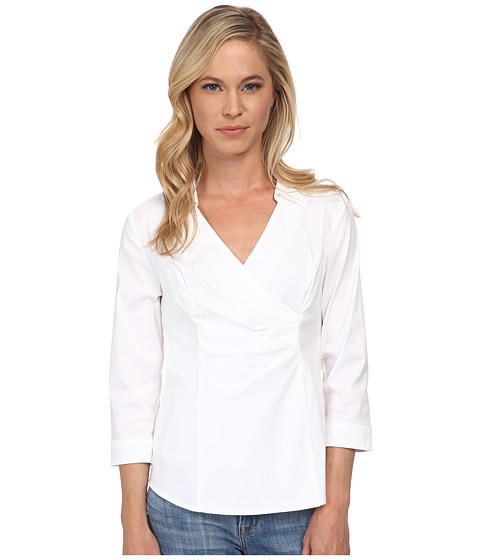 NYDJ Petite - Petite Fit Solution Wrap Blouse (Optic White) Women's Blouse